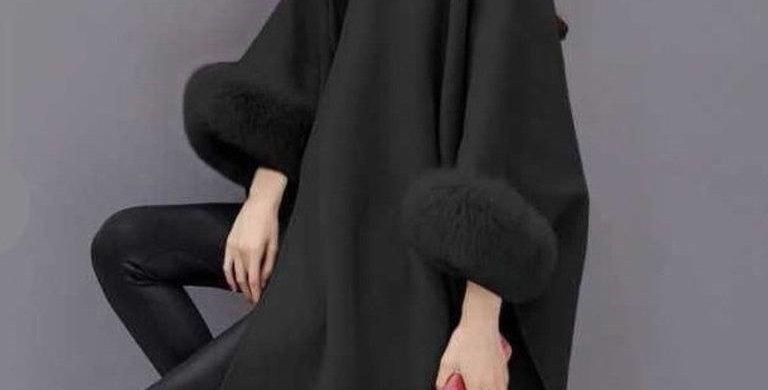 Gorgeous Grey Faux Fur Armhole Hoodie Shawl