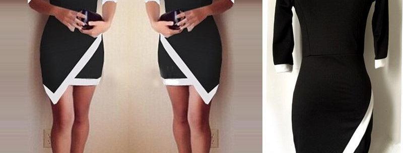 Elegant Black n White Asymmetrical Dress
