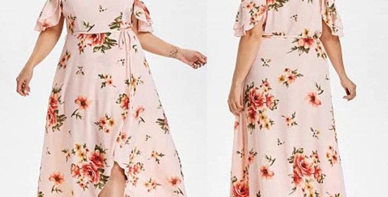 Pink Floral Sleeveless Ruffle Maxi Long Party Dress