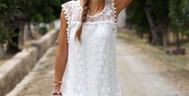 White Pom Pom Lace Crochet Boutique Mini Dress