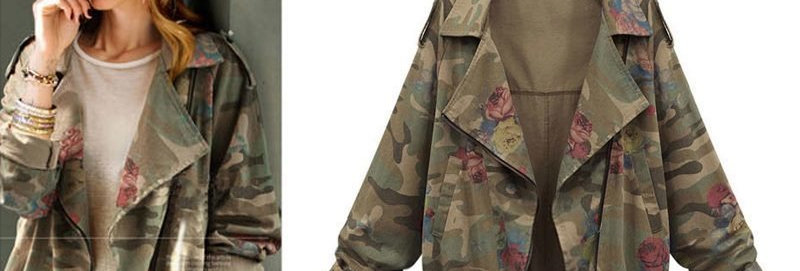 Army Green Camouflage Floral Side Zip Jacket