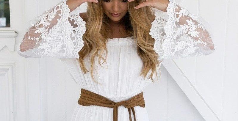 White Boho Crochet Bell Sleeves Off Shoulder