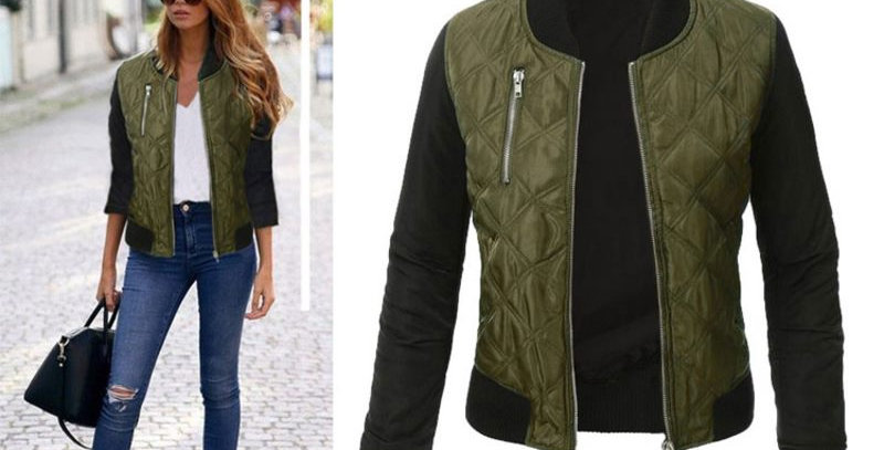 Green Quilted Thick Bomber Casual Zip Up