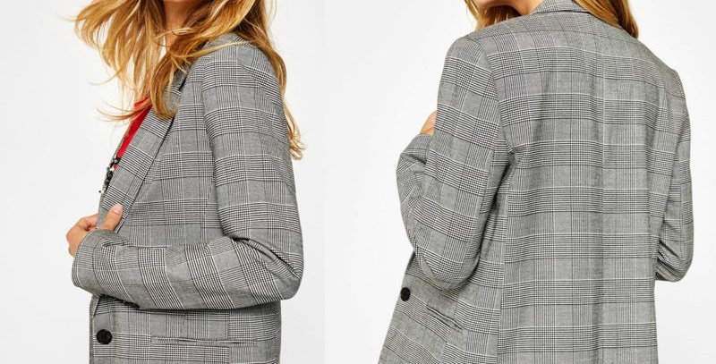Classic Black Plaid Houndstooth Fitted Suit Blazer Jacket