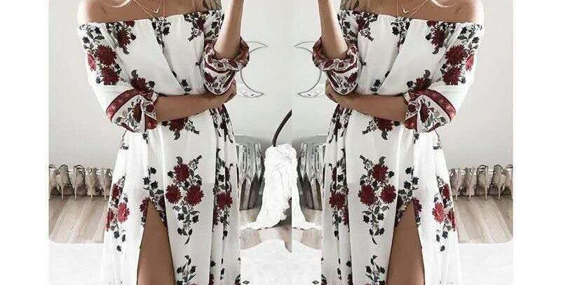 White Blossom Floral Off Shoulder Slit Dress