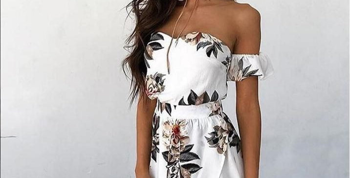 White Floral Off Shoulder Thigh Split Dress