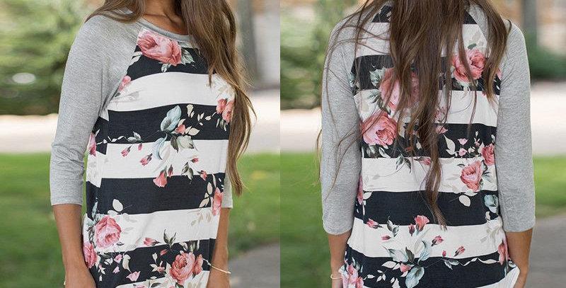 Black Stripe Blossom Floral Casual Top