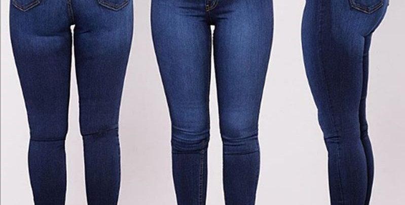 Denim Button Up High Waist Skinny Stretch Jeans