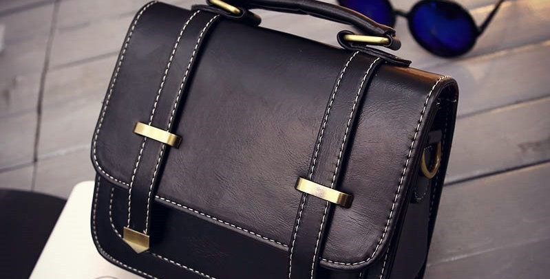 Black Buckle PU Leather Convertible Tote Bag