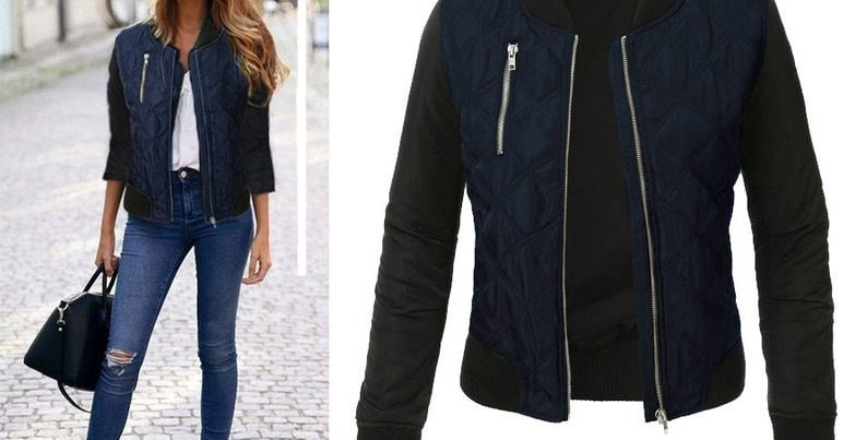 Ladies Blue Quilted Thick Bomber Casual