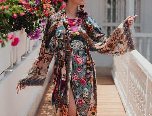 Boho Bohemia Floral Asymmetrical Kimono Cape