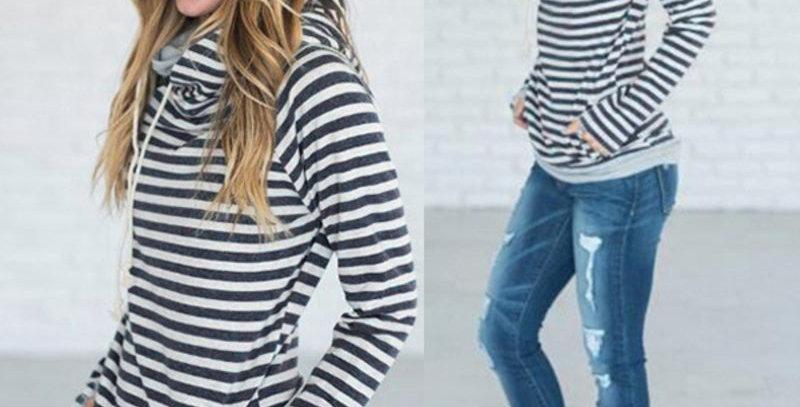 Blue & Grey Stripe Side Zip Casual Hoodie