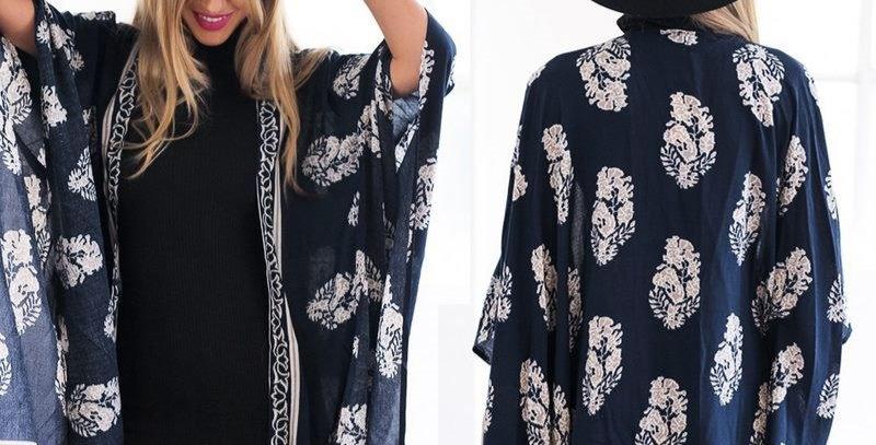 Deep Blue Bohemia Hippie Cotton Kimono