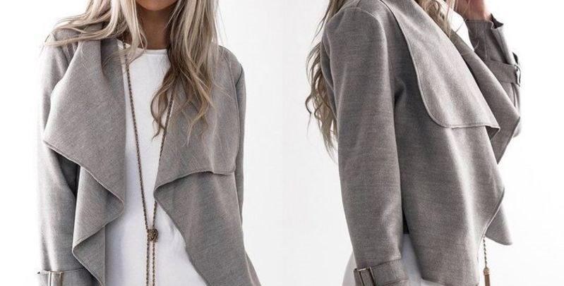 Grey Fold Collar Waterfall light Jacket