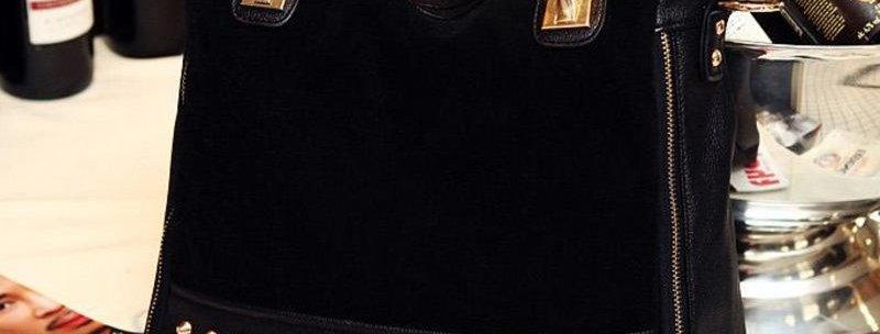 Black PU Suede Convertible Women's Tote Bag