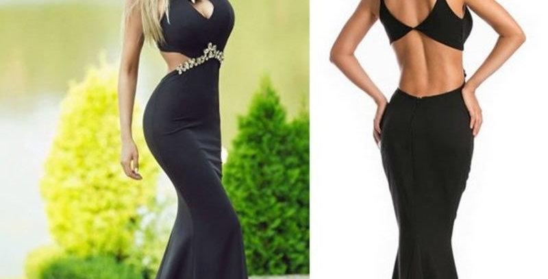 Black Jeweled Hollow Out Boutique Mermaid Maxi Fishtail Party Dress