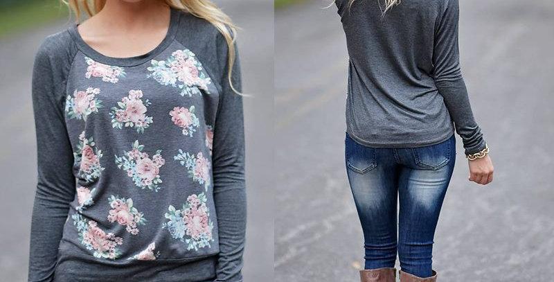 Grey Floral Long Sleeve Casual Sweatshirt