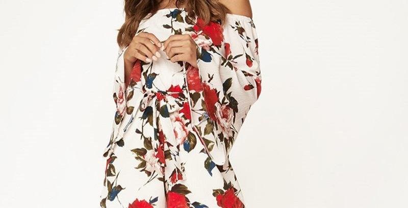 Floral Off Shoulder Casual Boutique Jumpsuit