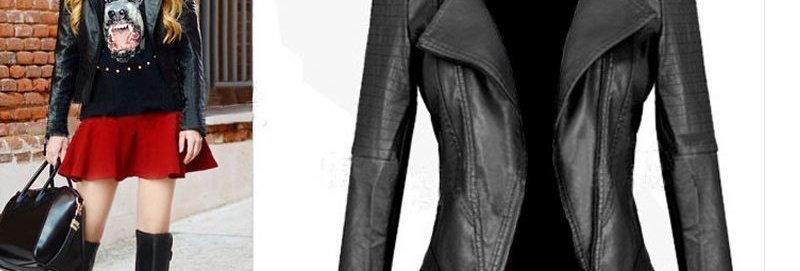 Black PU Leather Rider Jacket Outwear Motor Jackets