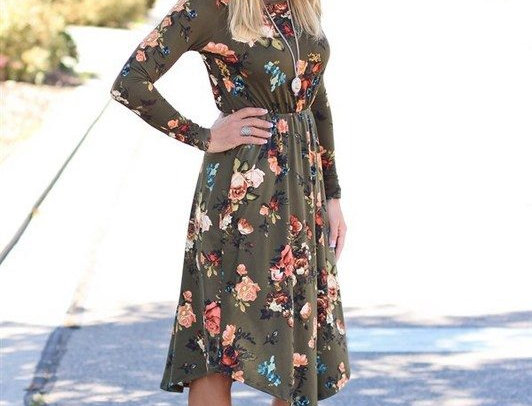 Army Green Blossom Floral Casual Party Dress