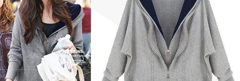 Grey & Navy Double Zip Hoodie Top