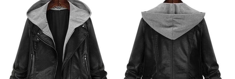 Black & Grey Rider Outwear Jacket with Hoodie