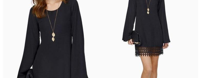 Black Chiffon Crochet Bell Sleeve Dress