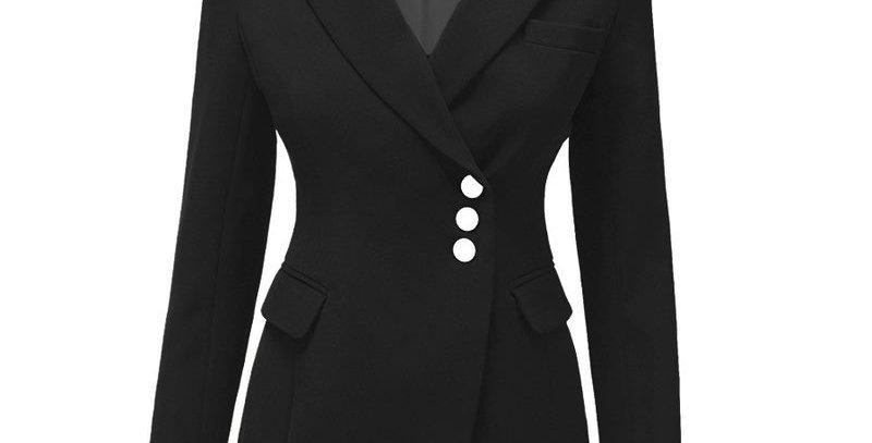 Fashion Black Asymmetrical Fitted Suit Blazer