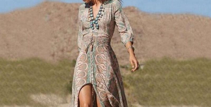 Retro Boho Paisley Hippie Maxi Dress