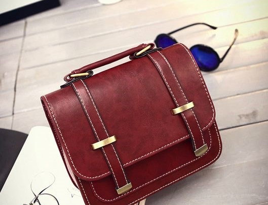 Quality Maroon Buckle PU Leather Convertible Tote Bag