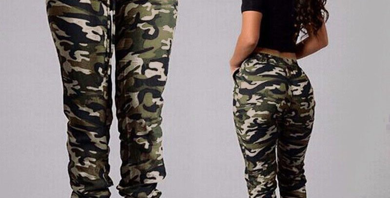 Army Green Camouflage High Waist Casual Pants