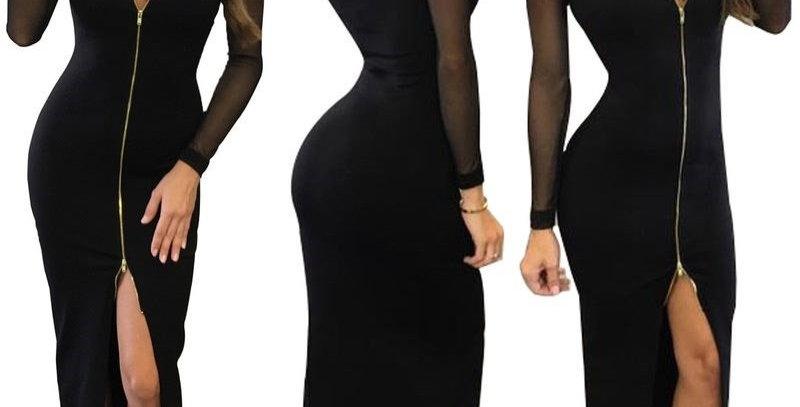 Black Zip Front Split Zip Up Gown Dress