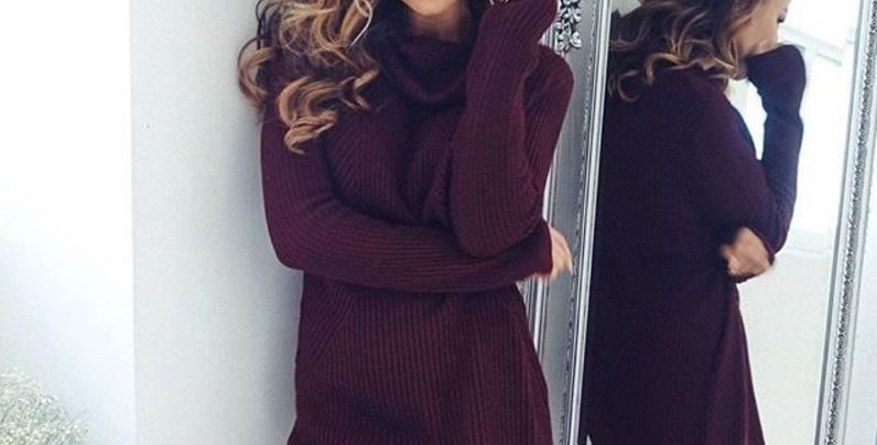 Slouch Burgundy Turtle Neck Knitted