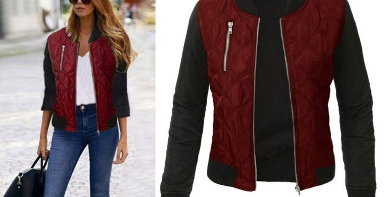 Ladies Red Quilted Thick Bomber Jacket