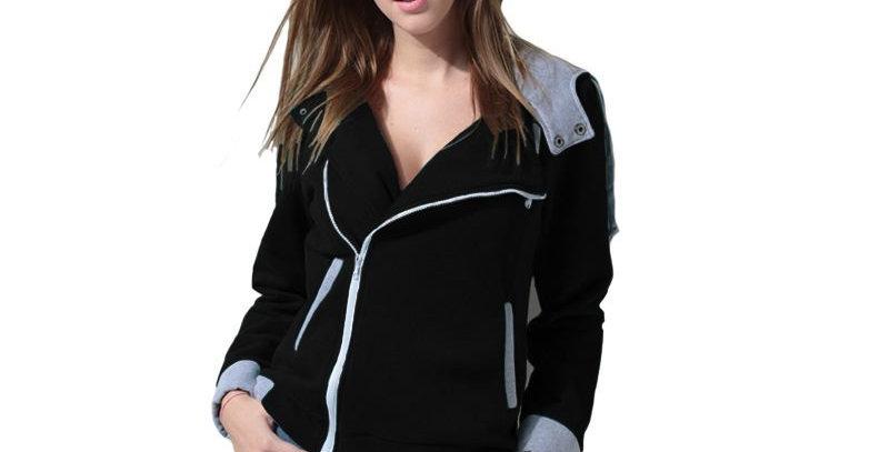 Black & Grey Side Zip Fleece Casual Hoodie