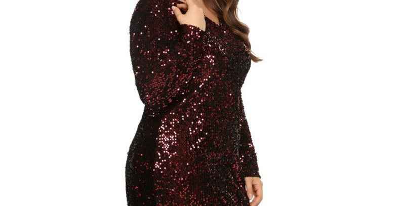 Red Sequin Bodycon Summer Party Evening Prom Gown