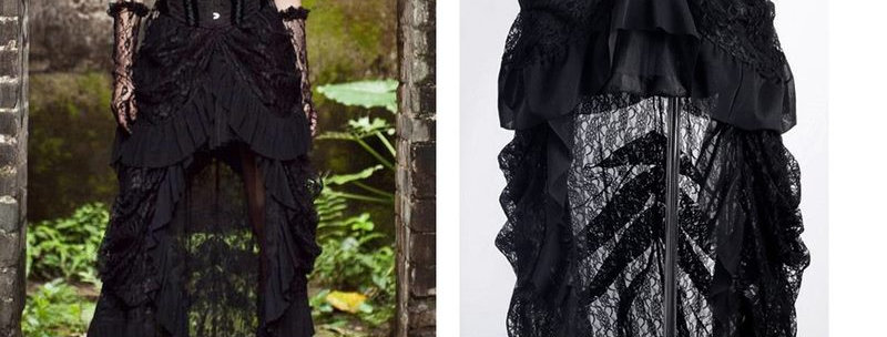 Vintage Gothic  Victorian Lace Ruffle High-Low Skirt