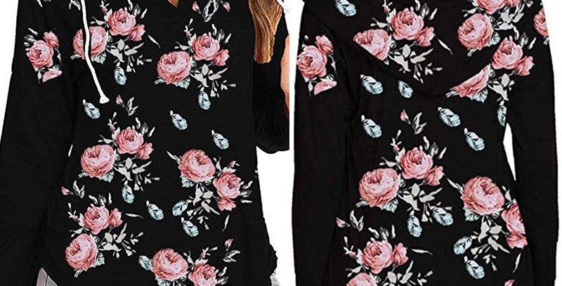 Black Blossom Floral Sweatshirt