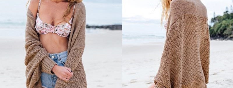 Brown Shawl Knitted Wrap Cardigan