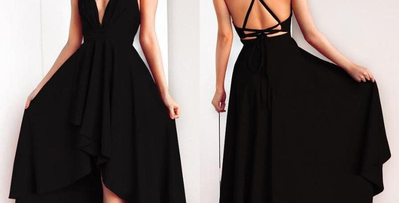 Sexy Black Open Back Asymmetrical High Low Swallow Tail Gown