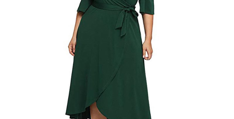 Green Off the Shoulder Short Sleeve Wrap Style Dress