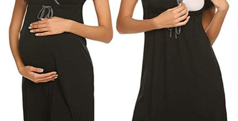 Black Maternity  Nursing Casual Dress