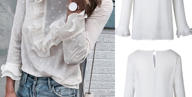 White Ruffle Frill Casual Blouse Top