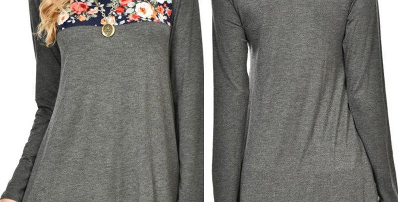 Romantic Grey Blossom Floral Long Top