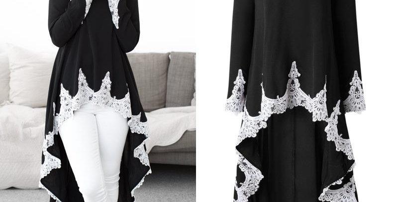 Beautiful Black Crochet Hem Asymmetrical Swallow Tail Dress Top