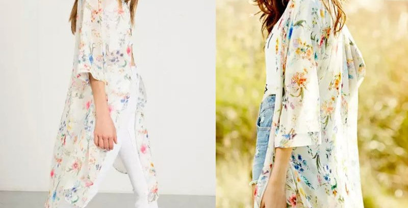 White Blossom Floral Relaxed Open Cardigan