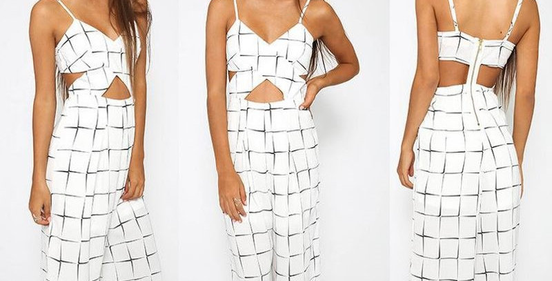White Plaid Cross Hollow Out Casual Jumpsuit