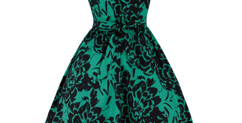 Vintage Retro Green Floral Flared Party Dress