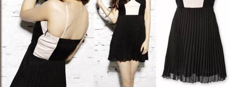 2 Tone Pleat Dress Mini Dresses