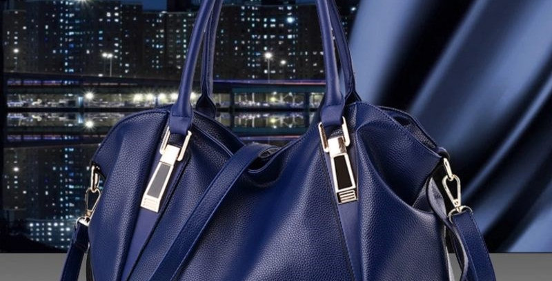 Blue Functional PU Leather Tote Bag